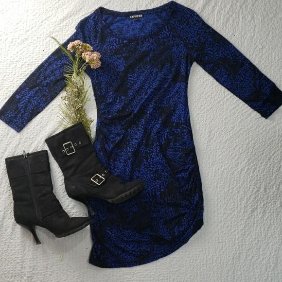 Express Dresses & Skirts - EXPRESS royal blue black cotton mini dress size XS